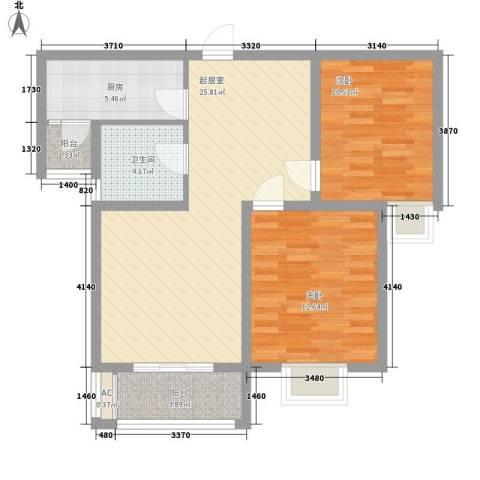 华美生态园2室0厅1卫1厨93.00㎡户型图