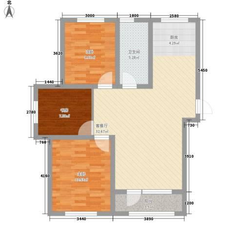 外滩九号3室1厅1卫0厨103.00㎡户型图