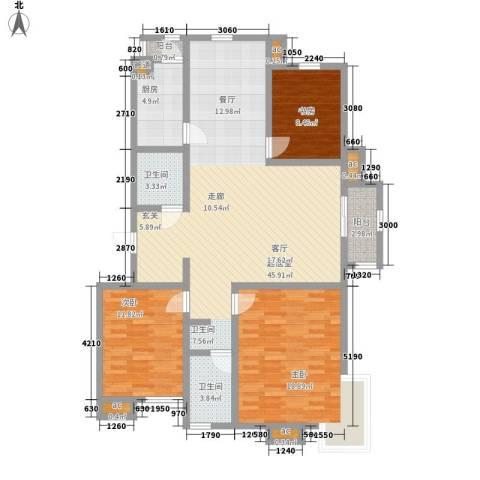亿城山水颐园3室0厅2卫1厨140.00㎡户型图