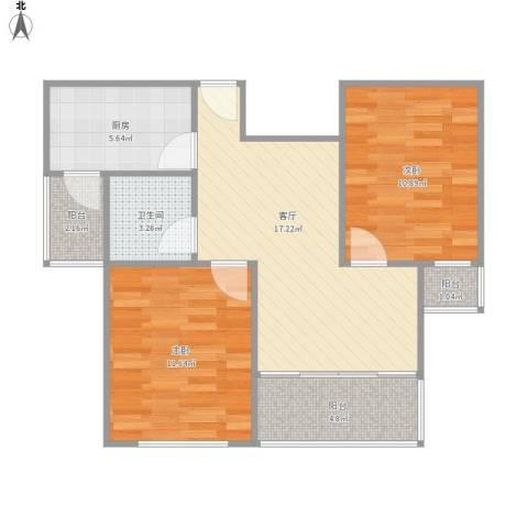 大华香榭美颂2室1厅1卫1厨77.00㎡户型图