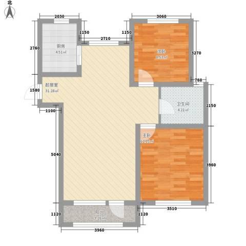 外滩九号2室0厅1卫1厨91.00㎡户型图