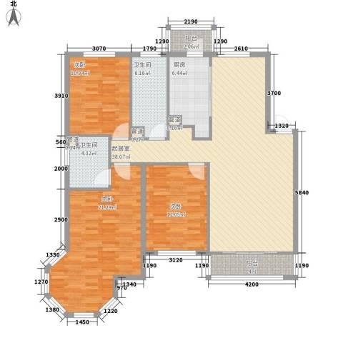 长兴湾一期3室0厅2卫1厨121.00㎡户型图