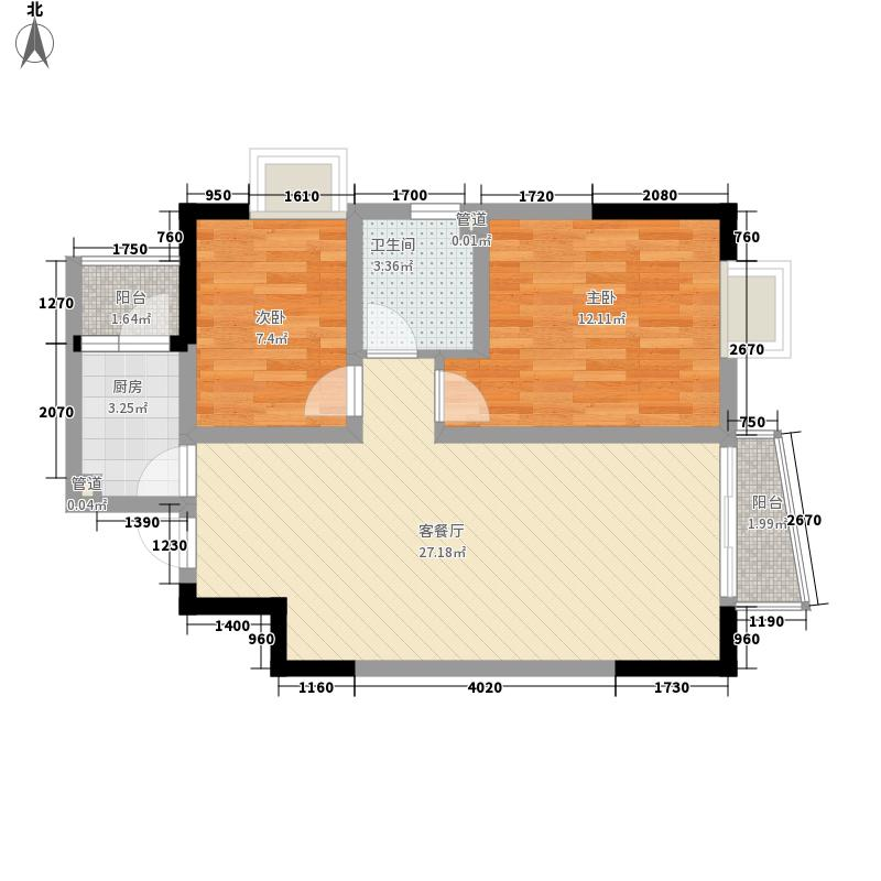西景花园82.71㎡户型2室2厅1卫1厨