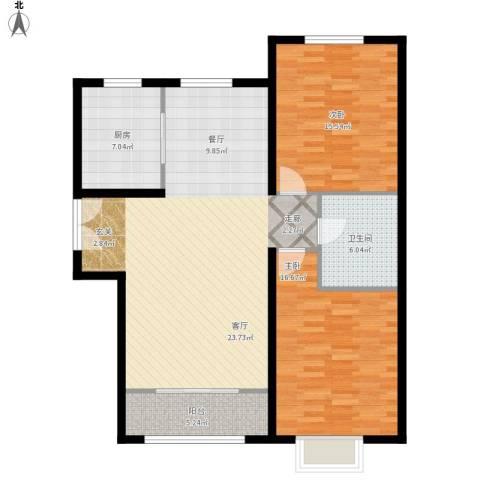 燕郊天洋城4代2室1厅1卫1厨124.00㎡户型图