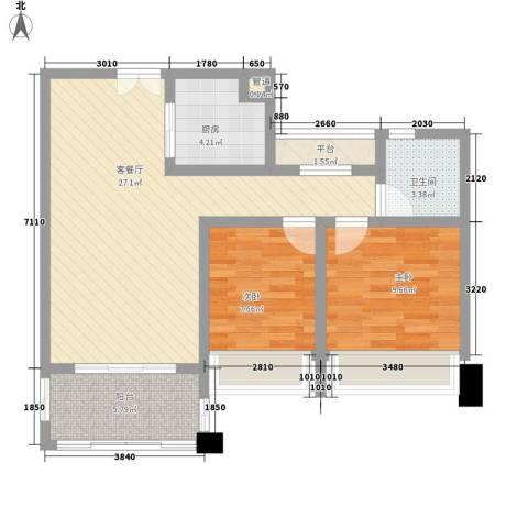 莱蒙水榭春天2室1厅1卫1厨88.00㎡户型图