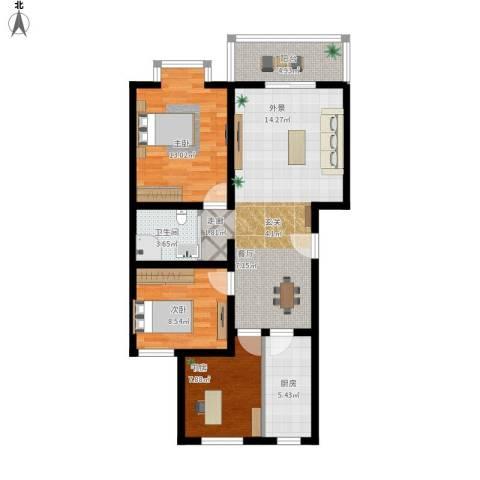 七色镇3室1厅1卫1厨102.00㎡户型图