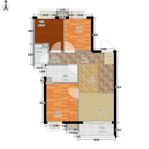 建大花园3室0厅1卫1厨109.00㎡户型图