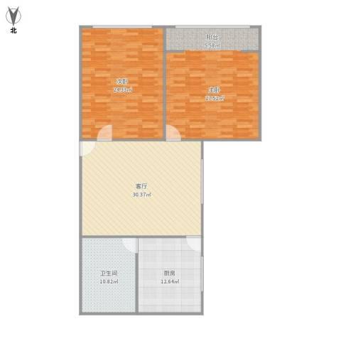 齐河花苑2室1厅1卫1厨139.00㎡户型图