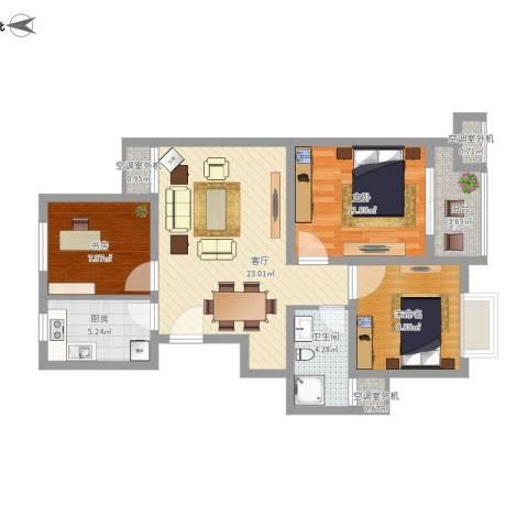 五河苑2室1厅1卫1厨98.00㎡户型图