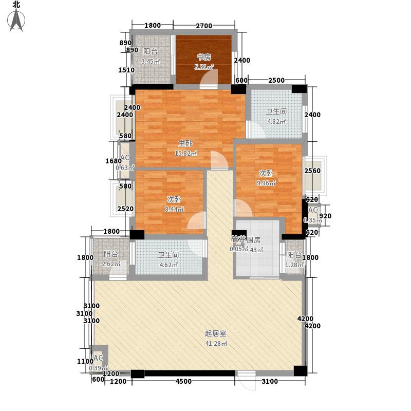 红馆128.00㎡G型户型4室2厅2卫1厨