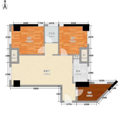 金地自在天地3室1厅1卫1厨78.00㎡户型图
