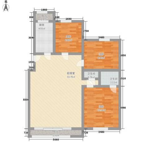 瑶东北村3室0厅2卫1厨104.00㎡户型图