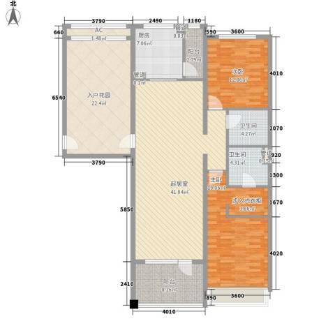 富力丹麦小镇别墅2室0厅2卫1厨134.00㎡户型图