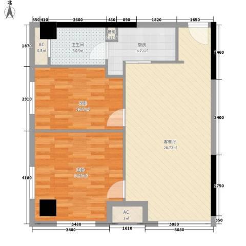 金地自在天地2室1厅1卫1厨83.00㎡户型图