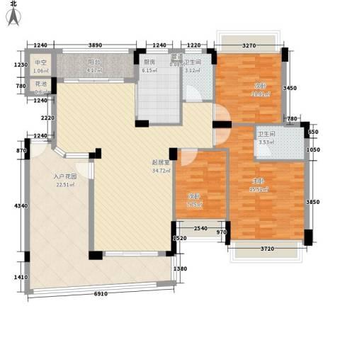 雅居乐雍华廷别墅3室0厅2卫1厨155.00㎡户型图