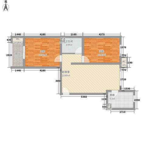怡情雅居・相和园二期2室0厅1卫1厨92.00㎡户型图