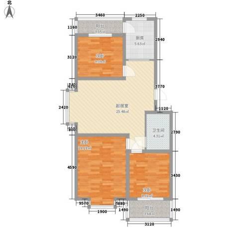 龙云家园3室0厅1卫1厨110.00㎡户型图