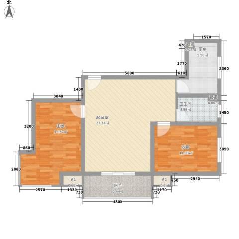 怡情雅居・相和园二期2室0厅1卫1厨100.00㎡户型图