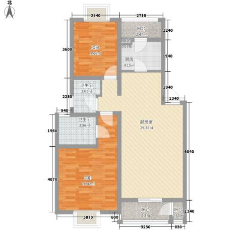 瑶东北村2室0厅2卫1厨72.45㎡户型图