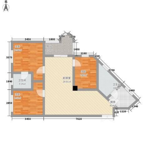 华景新城华门阁3室0厅2卫1厨108.00㎡户型图