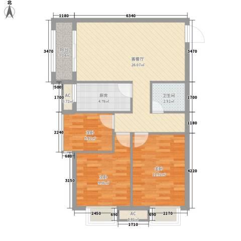 金域蓝郡3室1厅1卫1厨94.00㎡户型图