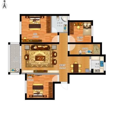 新城花园3室1厅1卫1厨145.00㎡户型图
