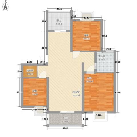 华美生态园3室0厅1卫1厨109.00㎡户型图