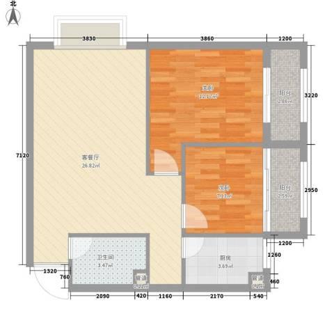 金域蓝郡2室1厅1卫1厨84.00㎡户型图