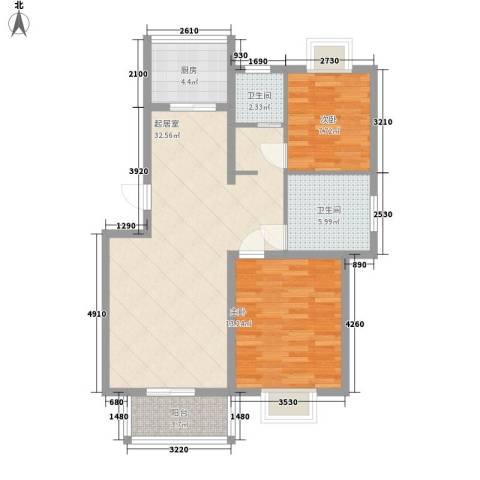 华美生态园2室0厅2卫1厨100.00㎡户型图