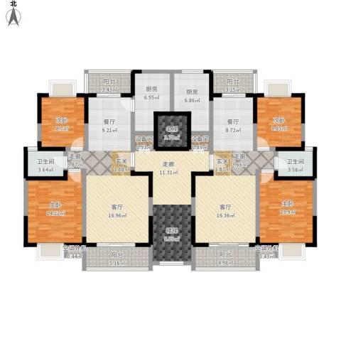 中天花园4室2厅2卫2厨252.00㎡户型图