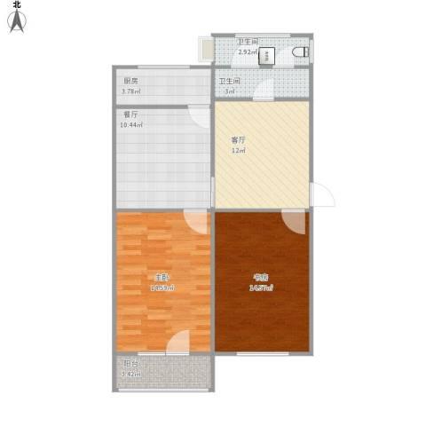模式口南里2室2厅2卫1厨87.00㎡户型图