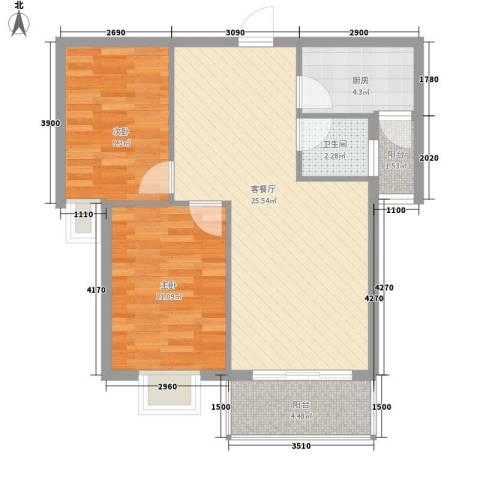 金域蓝郡2室1厅1卫1厨82.00㎡户型图