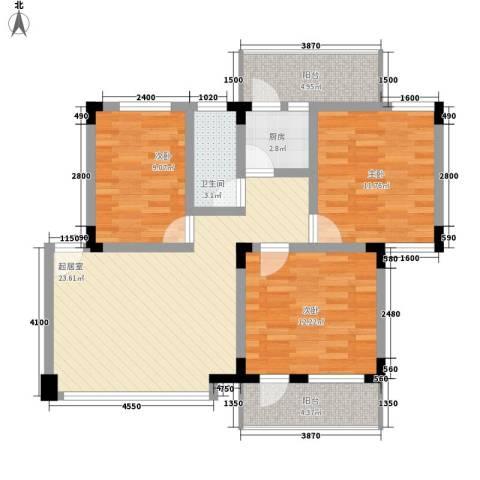 省消防总队宿舍3室0厅1卫1厨160.00㎡户型图