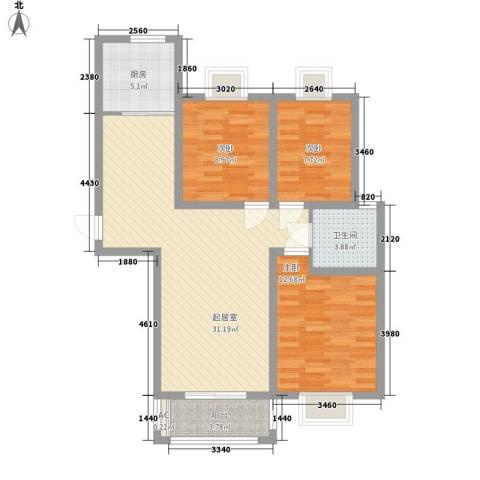 华美生态园3室0厅1卫1厨106.00㎡户型图