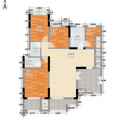 新都广场4室0厅2卫1厨124.00㎡户型图
