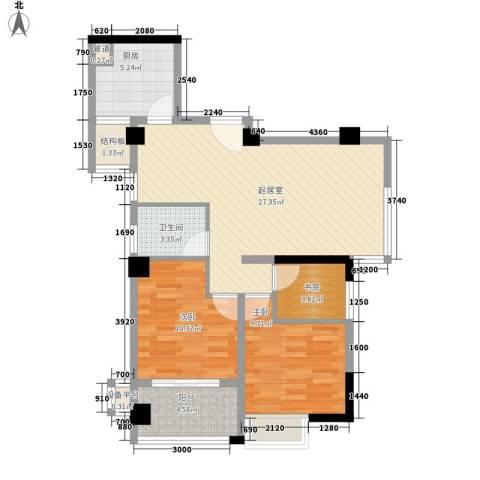 永鸿御景湾3室0厅1卫1厨97.00㎡户型图