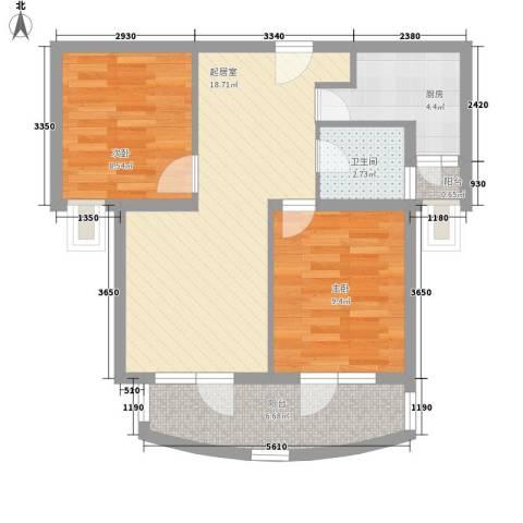 斜土路734弄小区2室0厅1卫1厨51.10㎡户型图