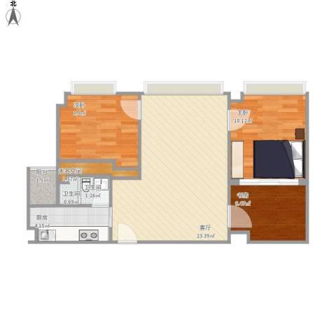 翠荷轩3室1厅2卫1厨76.00㎡户型图