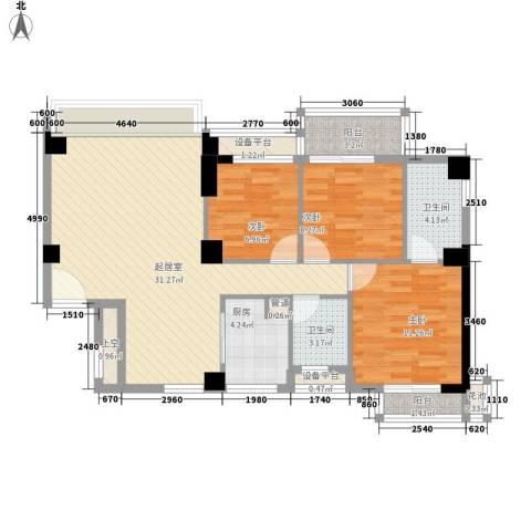 永鸿御景湾3室0厅2卫1厨114.00㎡户型图