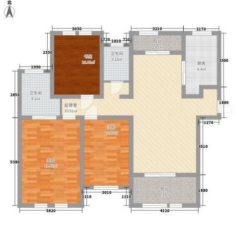 瑶东北村3室0厅2卫1厨97.34㎡户型图