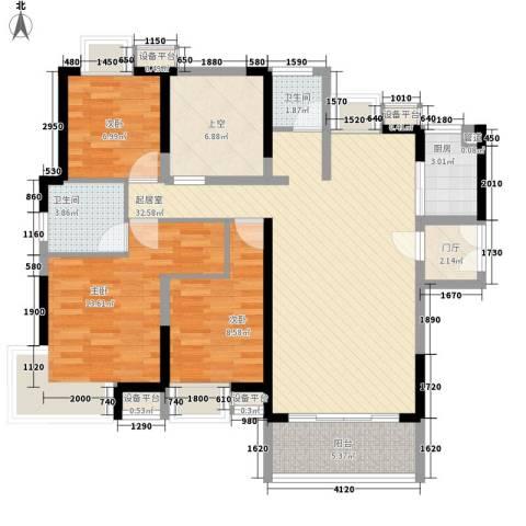 永鸿御景湾3室0厅2卫1厨127.00㎡户型图