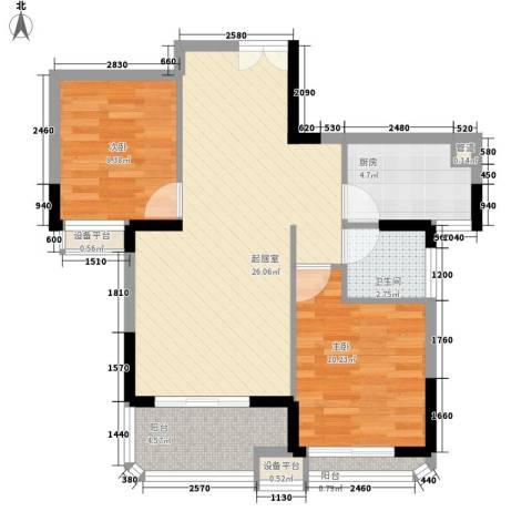 永鸿御景湾2室0厅1卫1厨85.00㎡户型图