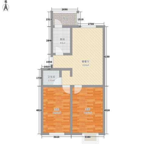 和泰馨城2室1厅1卫1厨79.00㎡户型图