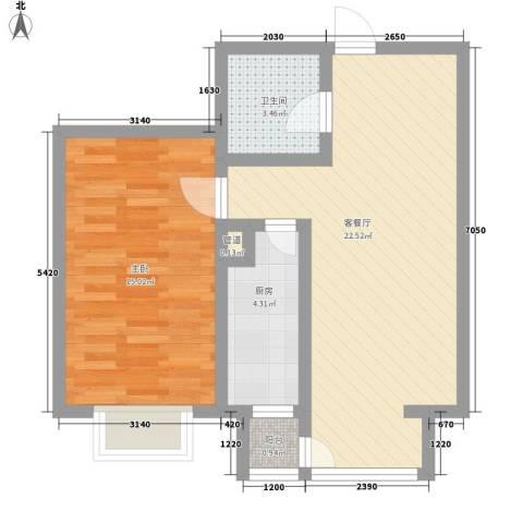 和泰馨城1室1厅1卫1厨59.00㎡户型图