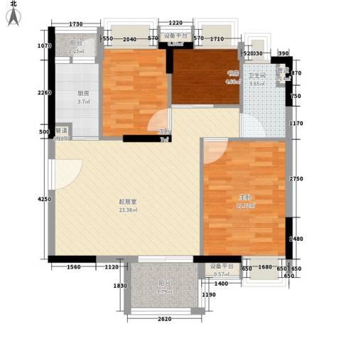 新世纪广场3室0厅1卫1厨75.00㎡户型图