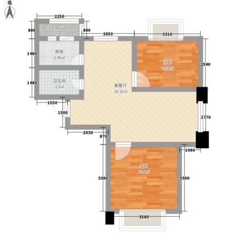 和泰馨城2室1厅1卫1厨85.00㎡户型图