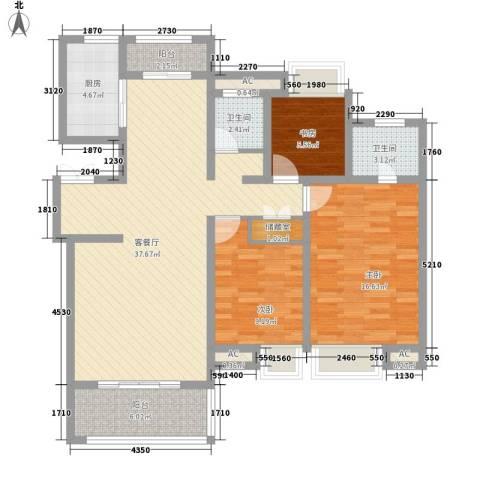 商城凤凰印象3室1厅2卫1厨133.00㎡户型图