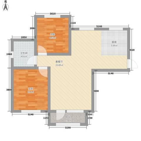 外滩九号2室1厅1卫0厨88.00㎡户型图