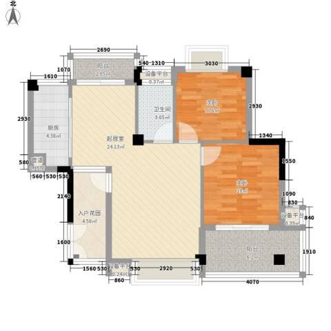 永鸿御景湾2室0厅1卫1厨93.00㎡户型图