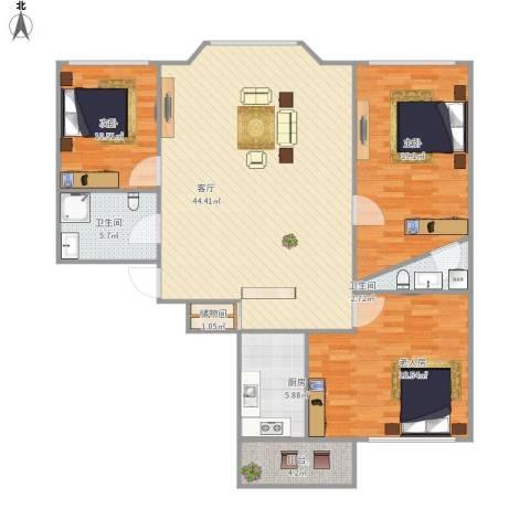 林海华庭3室1厅2卫1厨149.00㎡户型图